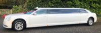 White Chrysler Stretch Limo wedding limousine